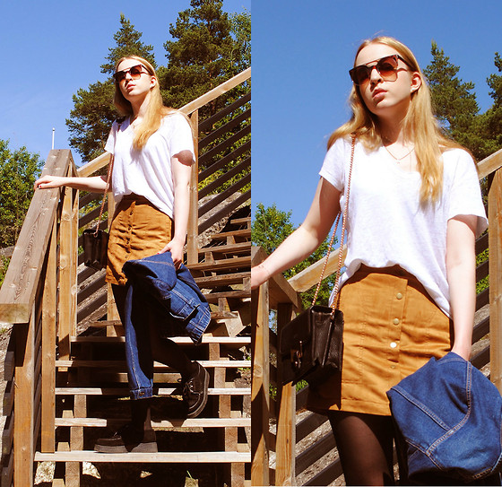 Noora V - Gap T Shirt, Lumi Bag, H&M Suede Skirt, Vintage Denim Jacket, Underground Creepers, 80's Purple Sunglasses - Diggin' Up The Heart