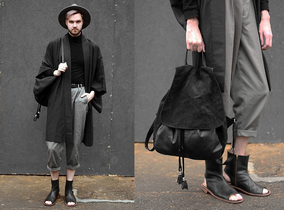 Geraint Donovan-Bowen - Boohoo Fedora, Rokit Vintage Kimono, H&M Roll Neck, Rokit Vintage Trousers, Monster Shoes, Rokit Vintage Backpack, Topshop Belt - His Name is #LCM Day 3