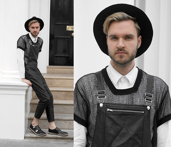 Geraint Donovan-Bowen - Topman Fedora, H&M Shirt, Boohoo Mesh Top, Topshop Dungarees, Topman Shoes - His Name Is Maison