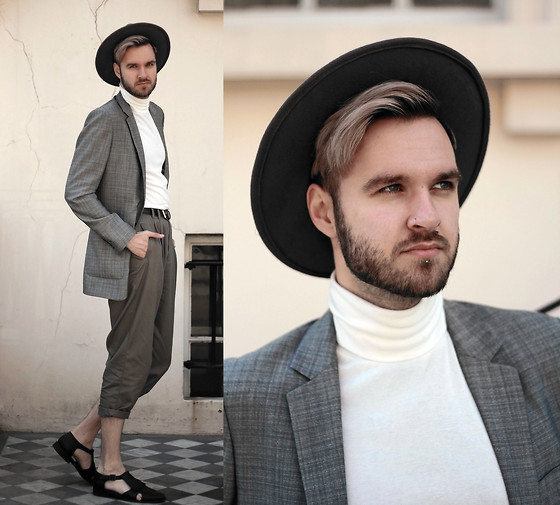 Geraint Donovan-Bowen - Boohoo Fedora, Topman Blazer, Topman Roll Neck, Rokit Vintage Trousers, Topman Shoes - His Name Is Stylist