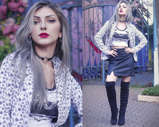 Lindsay Woods - Stooge High Black Skirt, Stooge Crop Top Pug 2 U, Stooge Girls Skyfall Jacket - Skyfall