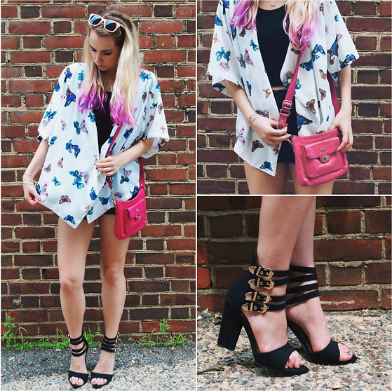 Amelia Burns - Coach Hot Pink Bag, Missguided Heels, Primark Kimono, Target Sunglasses - The Butterfly Effect