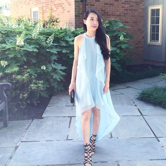 Emma Lee - Bcbg Hi Low Ruffle Front Dress, Zara Lace Up Sandals - Summer wedding perfect