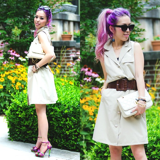 Aika Y - Elizabeth Roberts Trench Dress, Asos Bold Cat Eye Sunnies, Quilted Clutch, Isharya Gold Pendant Necklace, Justfab Floral Print Sandals - Seventies In DC