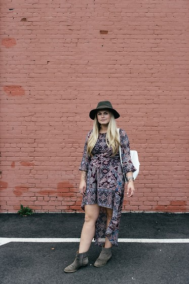 Britnie Harlow - Forever 21 Wool Fedora, Tj Maxx Printed Dress, Nine West Suede Ankle Boot - Bohemian rhapsody.