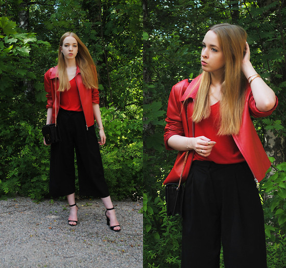 Noora V - Leather Jacket, & Other Stories Top, H&M Culottes, Lumi Bag, Zara Heels - Red leather jacket