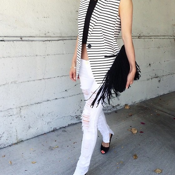 Emma Lee - Express Sleeveless Jacket / Vest, Zara Fringe Clutch, Blank Nyc Jeans - As simple as stripes