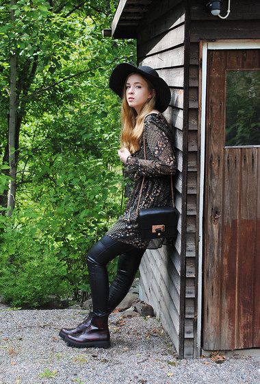 Noora V - Mango Dress, Lumi Bag, H&M Faux Leather Pants, Jeffrey Campbell Boots, H&M Hat - Leather & Flowers