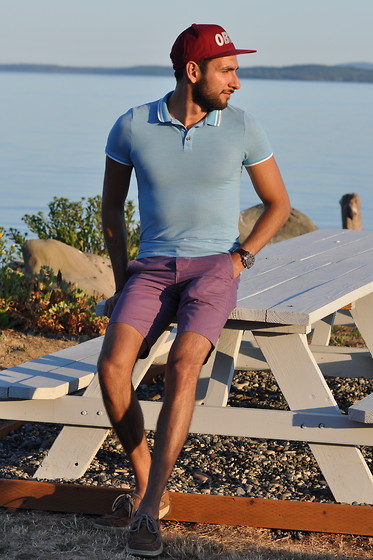 Hector Diaz - Topman Sky Blue Polo Shirt (Similar), Topman Violet Chino Shorts, Obey Hat (Similar), Sperry Topsider Boat Shoes - Sun-kissed Island