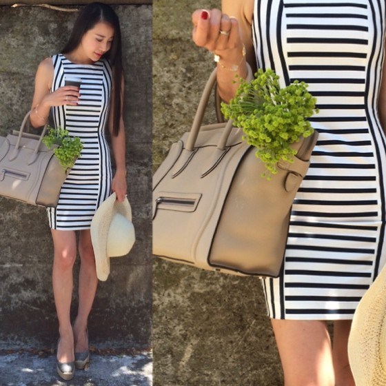 Emma Lee - H&M Sheath Dress, Celine Mini Luggage, Forever 21 Hat - Love for stripe