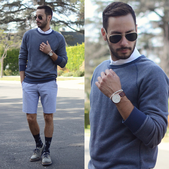 Reinaldo Irizarry - Levi's Sweater, H&M Shirt, Topman Shorts, Tsubo Shoes, Zara Socks, Daniel Wellington Watch, Ray Ban Sunglasses - FEELING BLUE