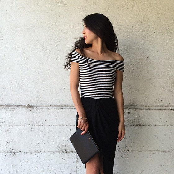Emma Lee - Byer California Off Shoulder Top, Zara Asymmetrical Skirt, Celine Clutch - Day to night