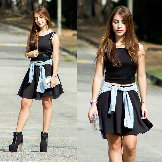 María Antonella Vivas - Charlotte Russe Top, Guess? Skirt, Zara Jean Shirt, Primark Clear Clutch, Dkny Watch - Black and clear