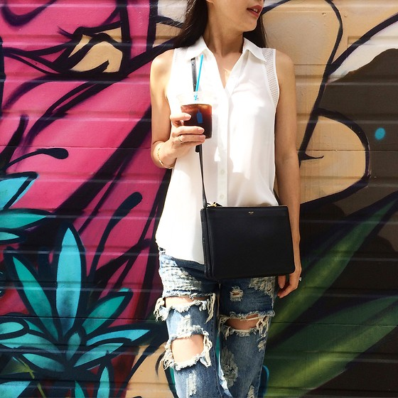Emma Lee - Byer California Sleeveless Shirt, Celine Shoulder Bag, One Teaspoon Ripped Jeans - Casual Saturday