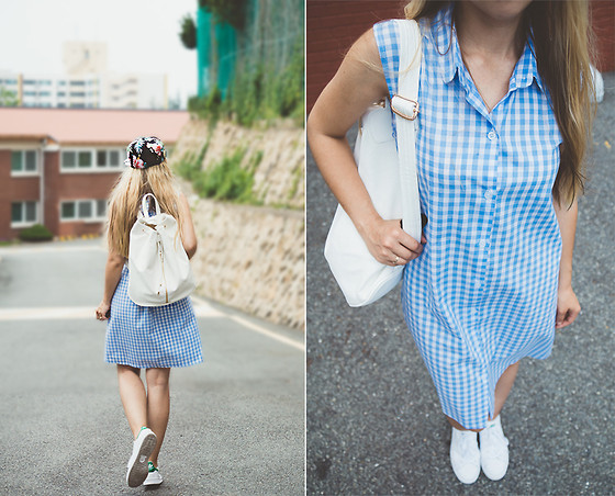 Olga Choi - Asos Gingham Dress, Adidas Originals, Deux Lux Backpack - Simply