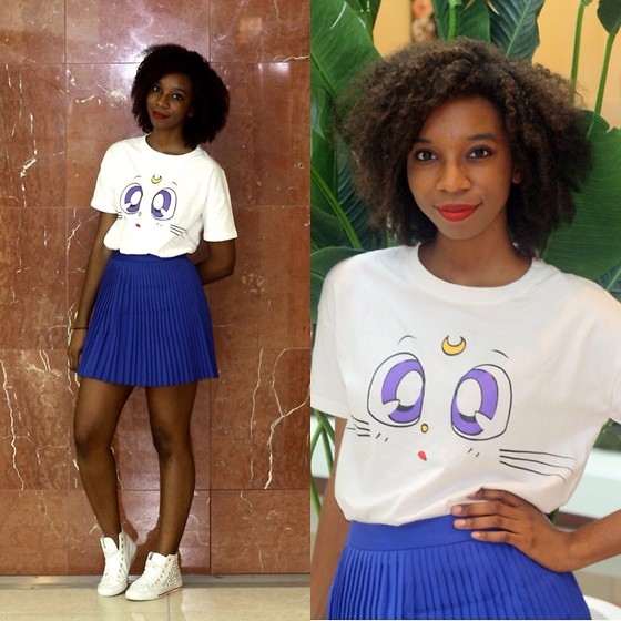 Alexa C - Romwe Sailor Moon Tee, Romwe Pleated Skirt, Sneakers - Selfish High Heels