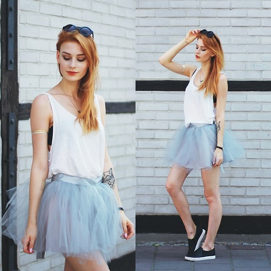 Katarzyna KOKA Konderak - Skirt, H&M Top, Slipon, Hair - Grey tutu.