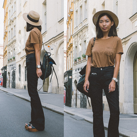 Stephanie Liu - Everlane Shirt, 7 For All Mankind Jeans - Flares in Vienna