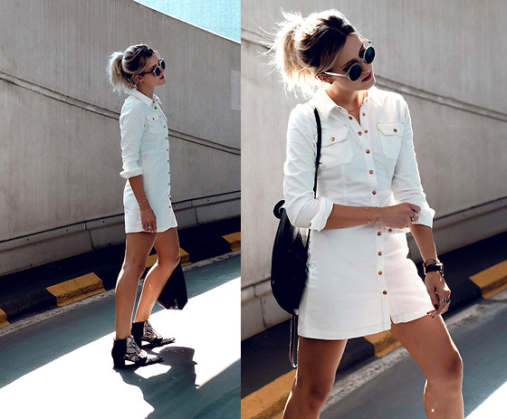 Mikuta - Asos Dress, Asos Boots, Maravillas Bags Bag, Zerouv Sunglasses - WHITE & SNAKE