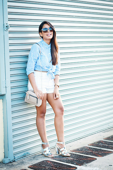 Nydia Enid - Forever 21 Striped Button Down Shirt, Forever 21 Striped High Waisted Shorts, Forever 21 Nude Crossbody Bag - Stripes over stripes