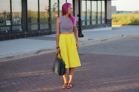 Jeannie Y - Sunday Best Crop Top, Topshop Midi Skirt, Zara Sandals, House Of Harlow 1960 Necklace, Longchamp Tote - The Golden Hour