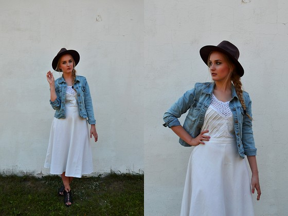 Agnieszka Warcaba - Http://Dresslink.Com Hat, Vinted Jacket, Second Hand Dress, H&M Boots - My aunt dress