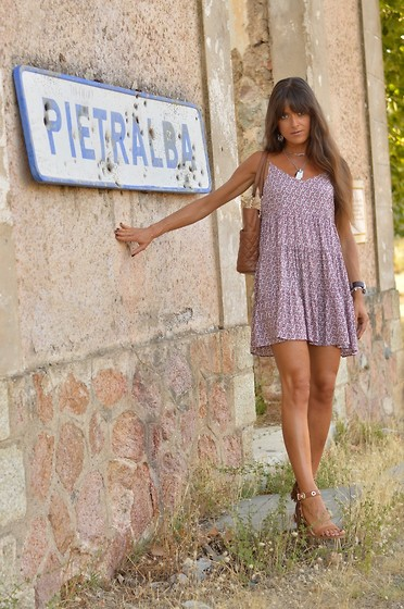 Jeanne -  - Little Floral Dress and Tan Accessories