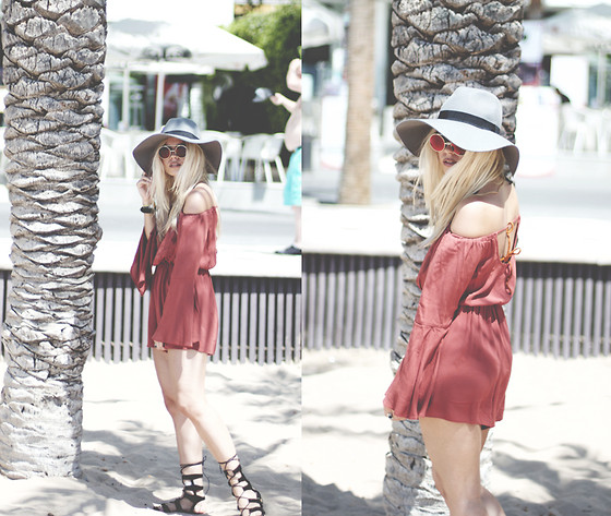 Inês M - Asos Playsuit, Choies Gladiators, H&M Hat, Zerouv Sunglasses - Berry Stroke