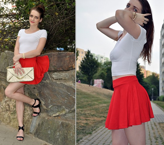 LOVERENCE Andrea Jelenská - Wholesalebuying Skirt, Bershka Top, Avon Bag, Ccc Boots - WILD RED
