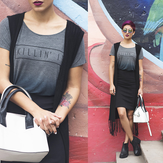Adriana Seminario - Area Black Leather Combat Boots, Velle Rlt Black Pencil Skirt, Do It White Bag, Tye Dye Shirt, Knit Black Vest With Fringes - Killin It
