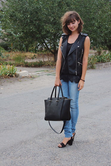 Nastasi - Collins Vest, Pull And Bear Jeans, Calliope Top, H&M Bag - Black on black on blue