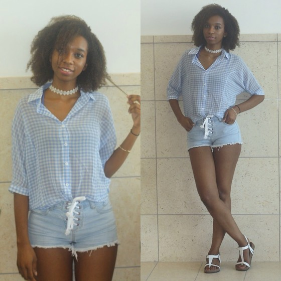 Alexa C - Romwe Blouse, Forever 21 Lace Up Shorts, Icing Floral Choker, Sandals - Busy Doing Nothing
