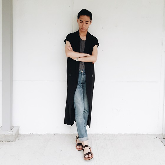 Sean Sadie Tham - Taobao Black Vest, Topshop Grey Tank, Uniqlo Jeans - Basic Bitch (lol lol lol)