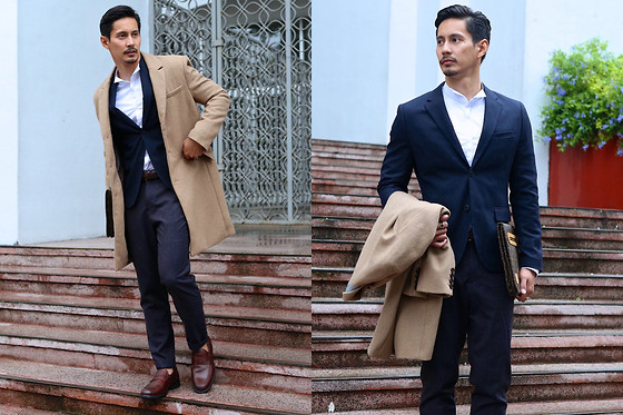 The Filo Dapper - H&M Button Down Shirt, H&M Blazer, H&M Trench Coat, H&M Trousers, Johnston & Murphy Loafer - Dapper in Autumn
