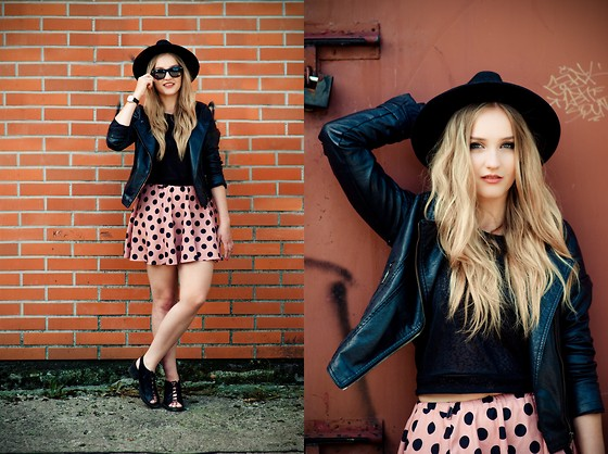 Agnieszka Warcaba - H&M Hat, Tk Max Jacket, H&M Top, Vinted Skirt, H&M Boots - Pink dots skirt