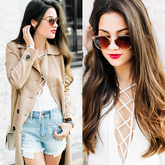 Sarah - American Eagle Outfitters Cutoffs, Christian Dior Sunglasses - CRUSHING ON THE LACE UP BODYSUIT