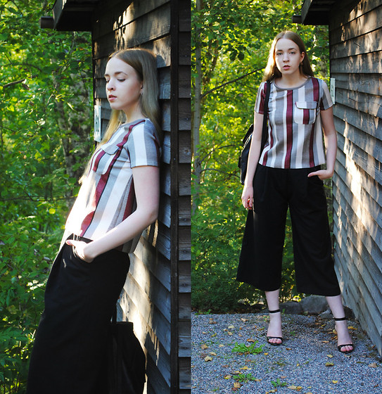 Noora V - Zara Top, H&M Culottes, Mint&Berry Leather Backpack, Zara Heels - Burgundy Stripes