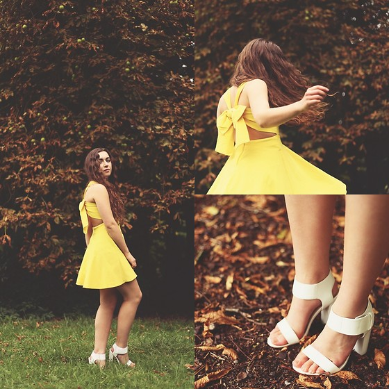 Axelle et ses caprices - Asos Yellow Bow Dress, New Look White Sandals - Yellow Bow