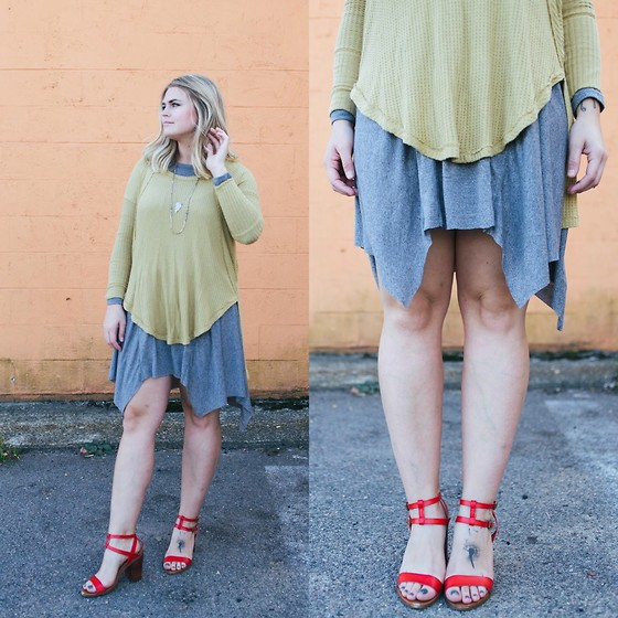 Britnie Harlow - Free People Thermal, Olive And Oak Trapeze Dress, American Eagle Outfitters Strappy Sandals - Jagged edge
