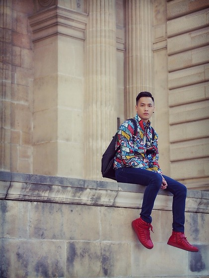 Chris Su - Adidas Jacket - Outside the Louvre