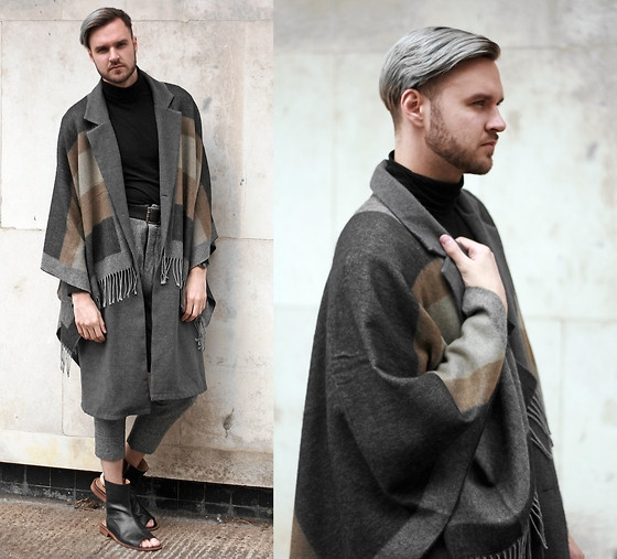 Geraint Donovan-Bowen - River Island Cape, Reclaimed Vintage Gilet, H&M Roll Neck, Sparks London Trousers, Monster Shoes - His Name Is Insider Part 1