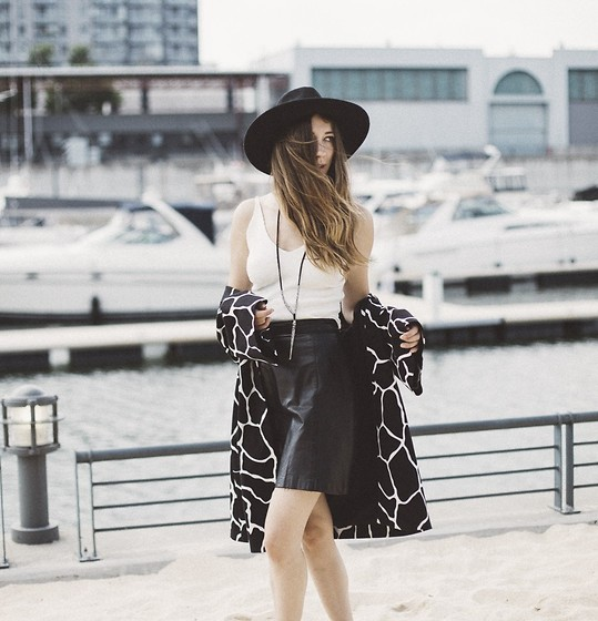 Gabrielle Lacasse - Urban Outfitters Hat, Shop The 26 Look White Top, 424 Fifth B&W Coat, Vintage Black Skirt, Free People Necklace - Carefree Bohemian