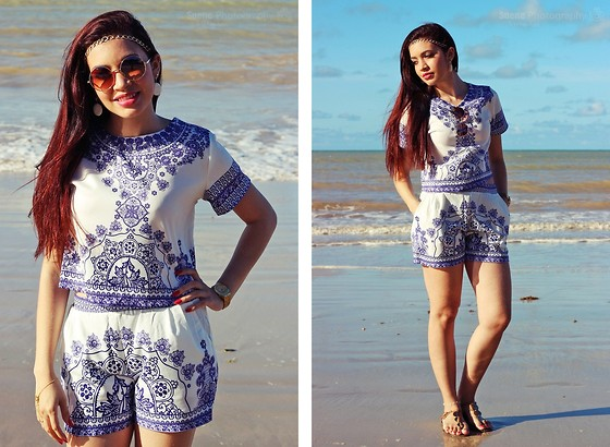Suene Fernandes - Dresslink Tops And Shorts 2pcs, Dresslink Shorts Sets - Look Boho Portuguese Tile ❤