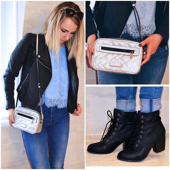 Amelia Burns - Marc By Jacobs Silver Purse, Charlotte Russe Booties, H&M High Waisted Jeans, Forever 21 Lace Top, H&M Leather Jacket - Ooh La La Fall