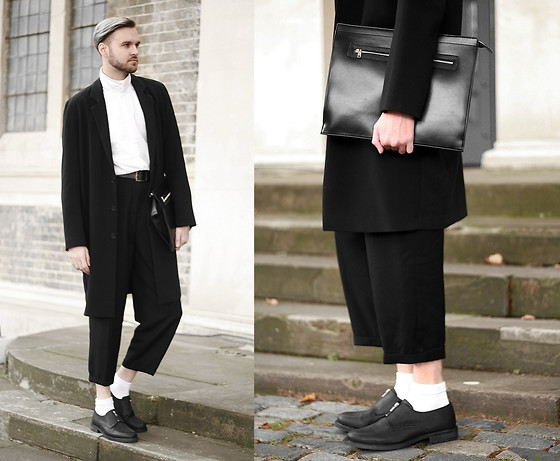 Geraint Donovan-Bowen - River Island Duster Coat, Natural Selection Shirt, River Island Clutch Bag, Rokit Vintage Trousers, American Apparel Socks, River Island Shoes - His Name Is Insider Part 2