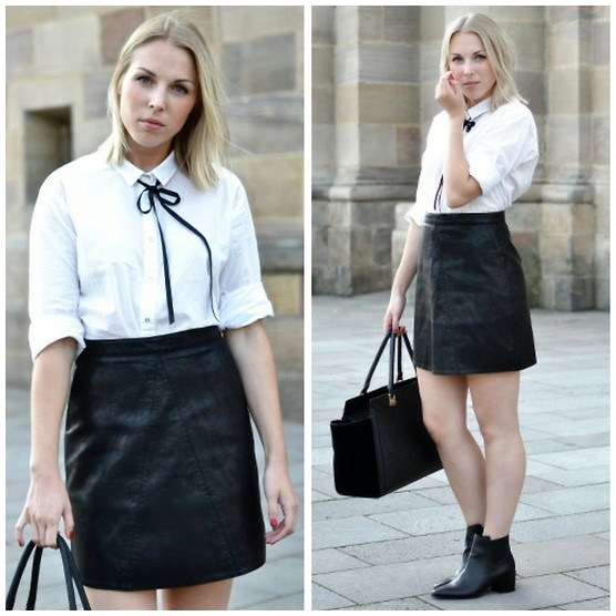 Sophia - Zara Leather Skirt, H&M White Blouse, H&M Boots, H&M Bag, Diy Bow Tie - Bow Tie