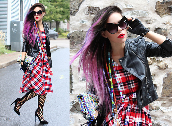 Katia Nikolajew - Zerouv Sunglasses, Dressin Dress, Public Desire Caged Heels - Classic Plaid...