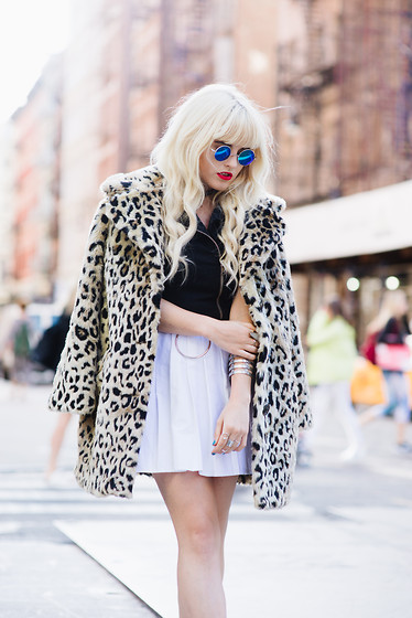 Rachel Lynch - Zero Uv Blue Sunnies, Asos Leopard Jacket, Deandri Moto Dress - NYFW