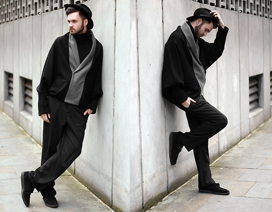 Geraint Donovan-Bowen - Topman Fedora, Charlie Buckle Cardi Jack, H&M Roll Neck, Asos Wide Leg Trousers, Underground Creepers - His Name Is #LFW Day 1