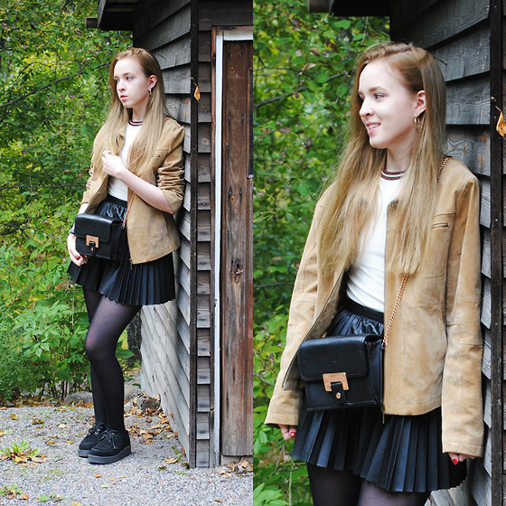 Noora V - Mom's Old Suede Jacket, H&M Top, Lumi Bag, H&M Pleated Faux Leather Skirt, Underground Creepers - The Jacket